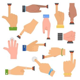 Conjunto de botões de pressão de mãos.
