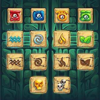 Conjunto de botões de reforço da gui dos xamãs da selva