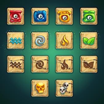 Conjunto de botões de reforço estilo desenho animado