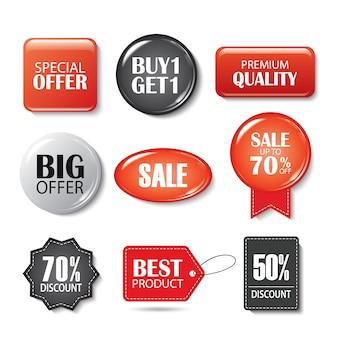 Conjunto de botões de venda e emblemas. promoções de produtos.