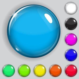 Conjunto de botões de vidro multicolorido com sombras