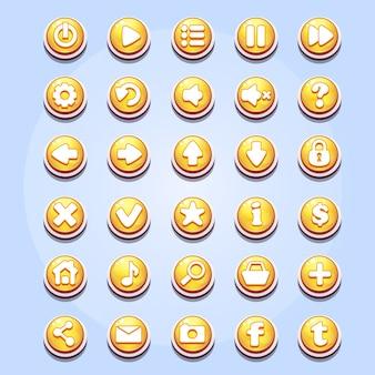 Conjunto de botões diferentes para jogos de computador, dia dos namorados e para web design