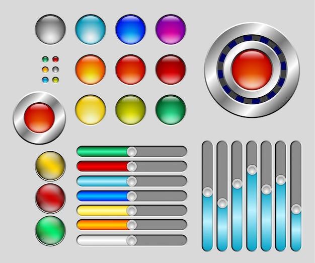 Conjunto de botões e controles deslizantes coloridos Vetor Premium