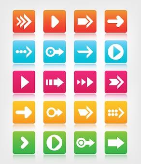 Conjunto de botões e ícones coloridos de navegação de seta