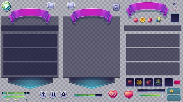 Conjunto de botões e janelas em um fundo transparente