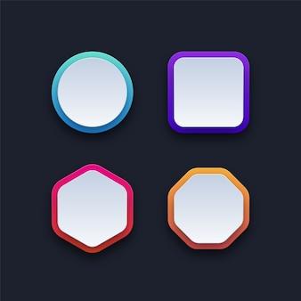 Conjunto de botões em branco coloridos