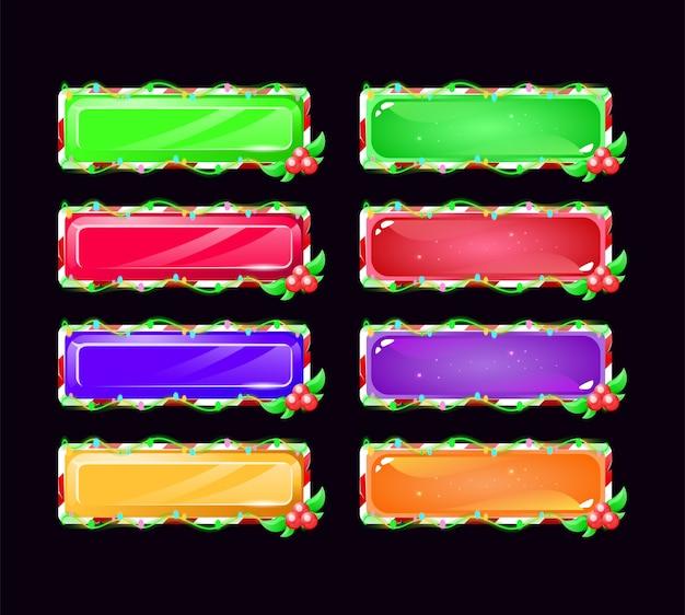 Conjunto de botões gui de natal em várias cores