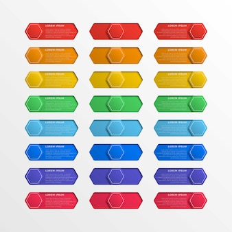 Conjunto de botões hexagonais da interface do interruptor multicolorido com caixas de texto