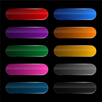 Conjunto de botões largos arredondados brilhantes