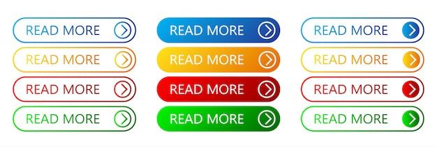 Conjunto de botões leia mais. ilustração.