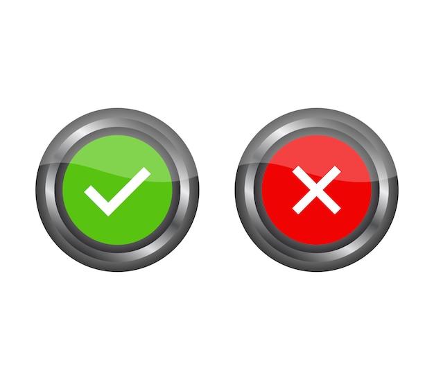 Conjunto de botões ligado e desligado