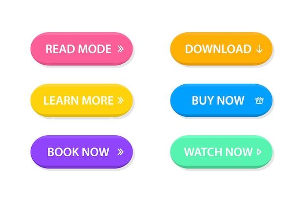 Conjunto de botões lisos na moda modernos de vetor. botões de chamada para ação; leia mais, saiba mais, compre agora, baixe, assista agora, reserve mais um conjunto de botões coloridos. diferentes cores de gradiente e ícones com sombras.