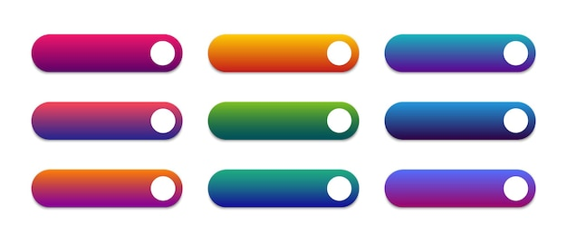 Conjunto de botões modernos para site e interface do usuário. modelo em branco de botões da web. vetor