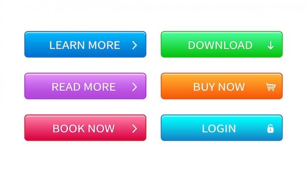 Conjunto de botões modernos para web site, interface do usuário e jogos.