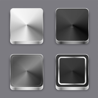 Conjunto de botões ou ícones de metal escovado 3d realista