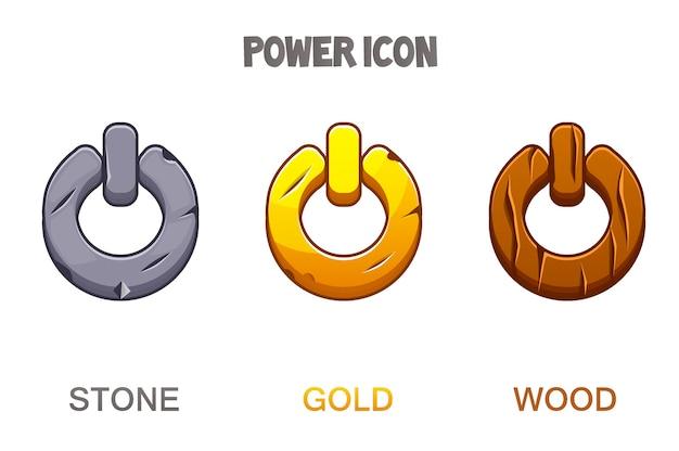 Conjunto de botões ou ícones de poder dourado, pedra, madeira