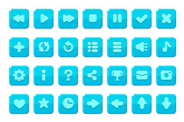 Conjunto de botões para jogos, aplicativos e sites.