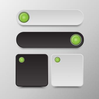 Conjunto de botões preto e branco botões redondos e quadrados