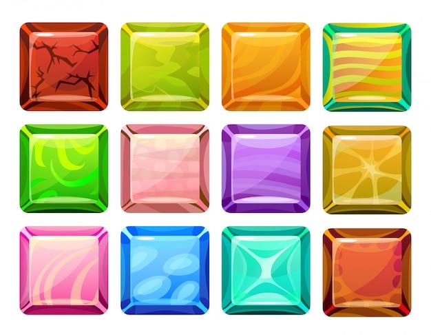 Conjunto de botões quadrados de desenho animado