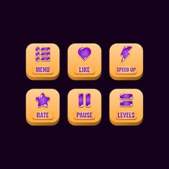 Conjunto de botões quadrados de madeira com ícones de gelatina para elementos de ativos de interface do usuário do jogo