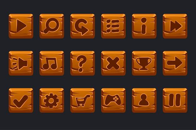 Conjunto de botões quadrados de madeira de desenho animado para interface gráfica de usuário gui
