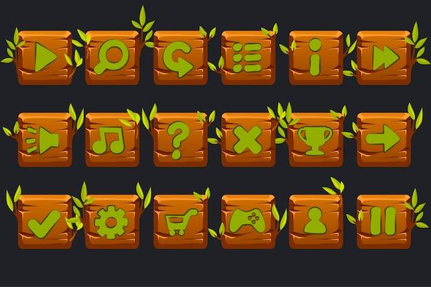 Conjunto de botões quadrados de madeira para interface gráfica do usuário