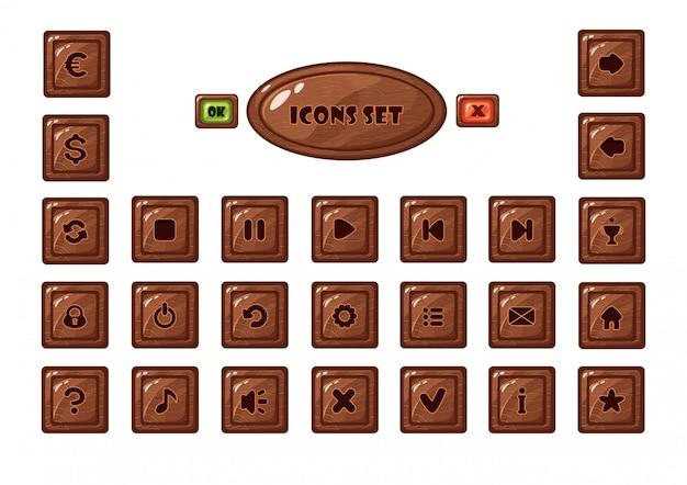 Conjunto de botões quadrados de madeira para jogos móveis