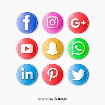 Conjunto de botões realistas com logotipo de mídias sociais