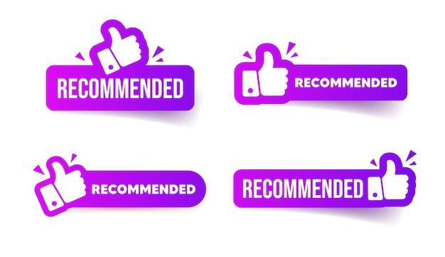 Conjunto de botões recomendados. ilustração vetorial