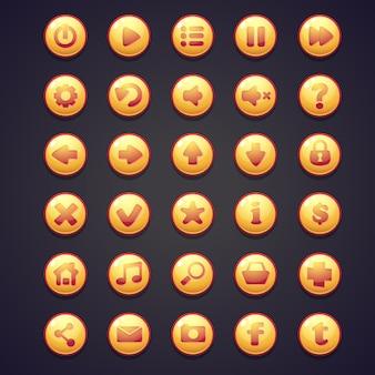 Conjunto de botões redondos amarelos para a interface do usuário de jogos de computador
