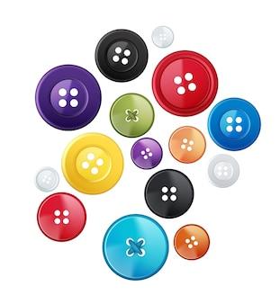 Conjunto de botões redondos coloridos de vários tamanhos isolados no fundo branco