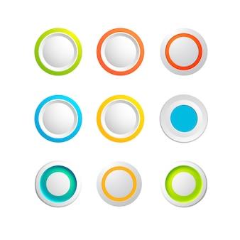 Conjunto de botões redondos coloridos em branco para sites ou aplicativos