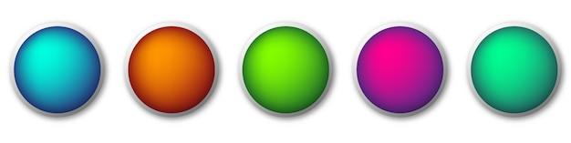 Conjunto de botões redondos com sombras. ilustração.