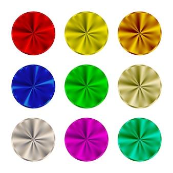Conjunto de botões redondos em aço