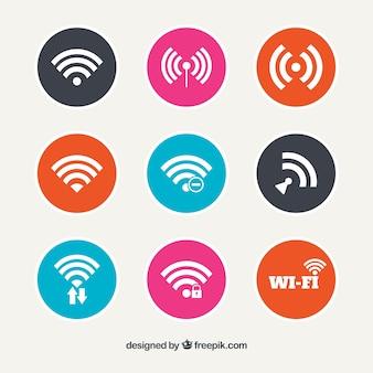 Conjunto de botões redondos wifi