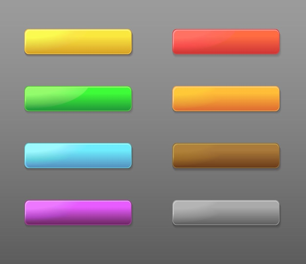 Conjunto de botões retangulares coloridos da web