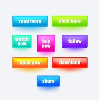 Conjunto de botões retangulares gradientes coloridos para design de interface de site.