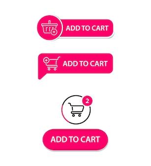 Conjunto de botões simples na moda modernos de vetor. adicionar ao carrinho. botão comprar agora para um site. ui moderna compre agora para loja online, elementos de interface de comércio eletrônico. carrinho de compras Vetor Premium