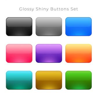 Conjunto de botões vazio brilhante brilhante