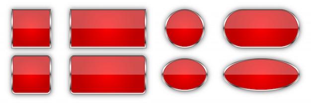 Conjunto de botões vermelhos brilhantes.