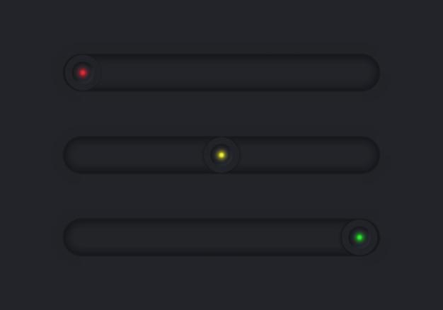 Conjunto de botões vetoriais neomórficos sliders para navegação em menus móveis de sites e aplicativos