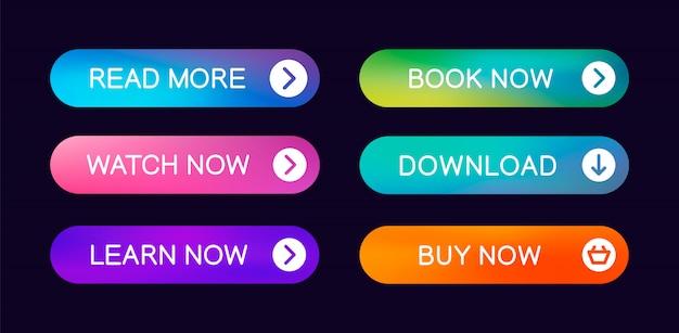 Conjunto de botões web abstrata moderna com a capacidade de editar