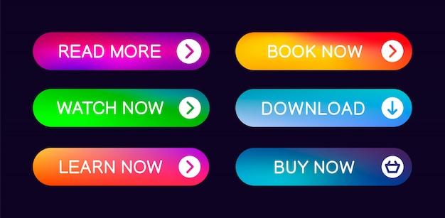 Conjunto de botões web abstrata moderna