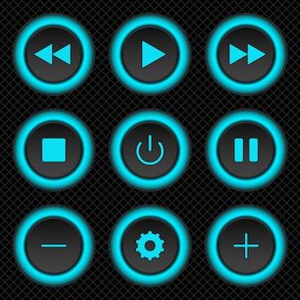 Conjunto de botões web azul redondo para o seu aplicativo ou site em fundo preto com grade cinza. ilustração conservada em estoque