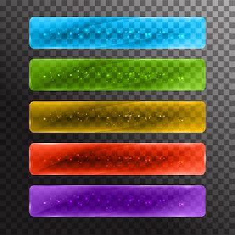 Conjunto de botões web coloridos brilhantes.