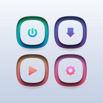 Conjunto de botões web coloridos