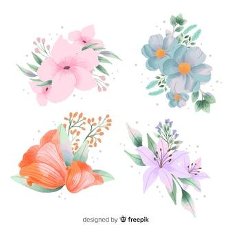 Conjunto de bouquet floral em aquarela