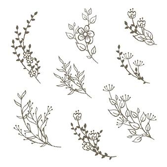 Conjunto de bouquete floral simples