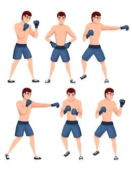 Conjunto de boxeador em calças esportivas com luvas de boxe ilustração de desenho de personagem de desenho animado