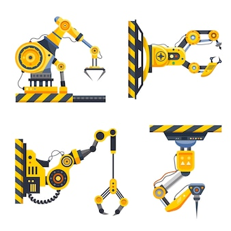 Conjunto de braços de robô ou mãos de máquina de fábrica. indústria mecânica. braços robóticos com garras, engenharia robótica e manufatura automatizada, tecnologia industrial e maquinário hidráulico